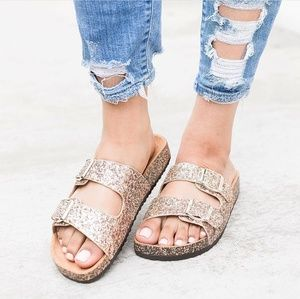 Rose Gold Glitter Sparkle Sandals Double Buckle
